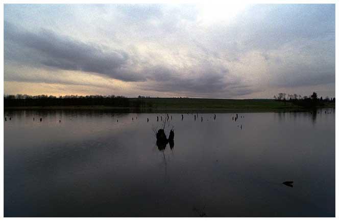 Дождливый закат на озере
